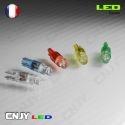 1 AMPOULE LED T5 - 1 LED RONDE WEDGE W1.2W - BLANC/BLEU/ROUGE/VERT/ORANGE 12V DC