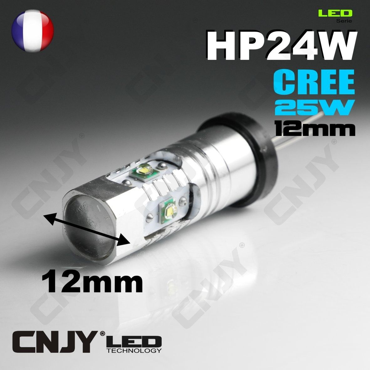 1 ampoule led cnjy hp24 cree 25w feux de jour diurne blanc 6000k pour montage sur citroen c5 c4. Black Bedroom Furniture Sets. Home Design Ideas