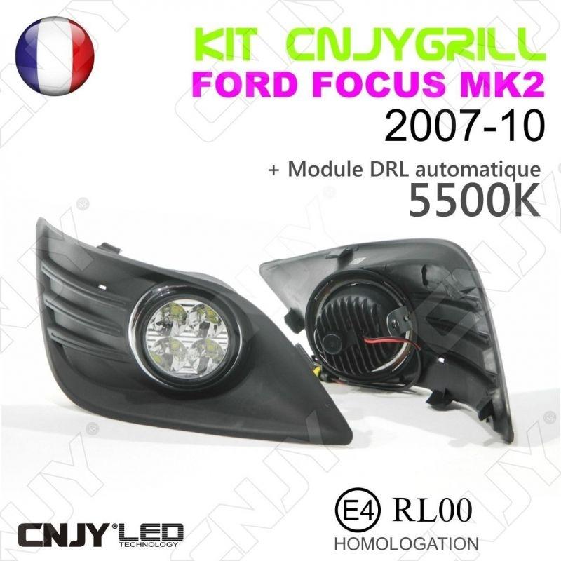 cnjy led technologie kit 2 grille de calandre anti brouillard feux de jour led diurne drl ford. Black Bedroom Furniture Sets. Home Design Ideas