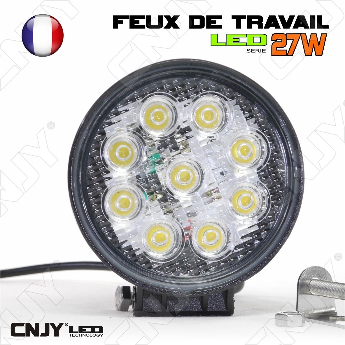 feux de travail cnjy led 27w rond working light ip67 camion bateau 4x4 12 24v 26 95 chez. Black Bedroom Furniture Sets. Home Design Ideas