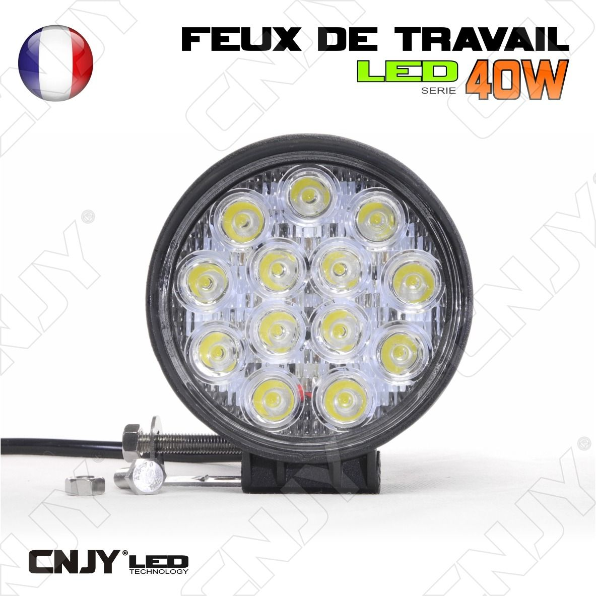 feux de travail cnjy led 40w rond working light ip67 camion bateau 4x4 12 24v 34 50 chez. Black Bedroom Furniture Sets. Home Design Ideas