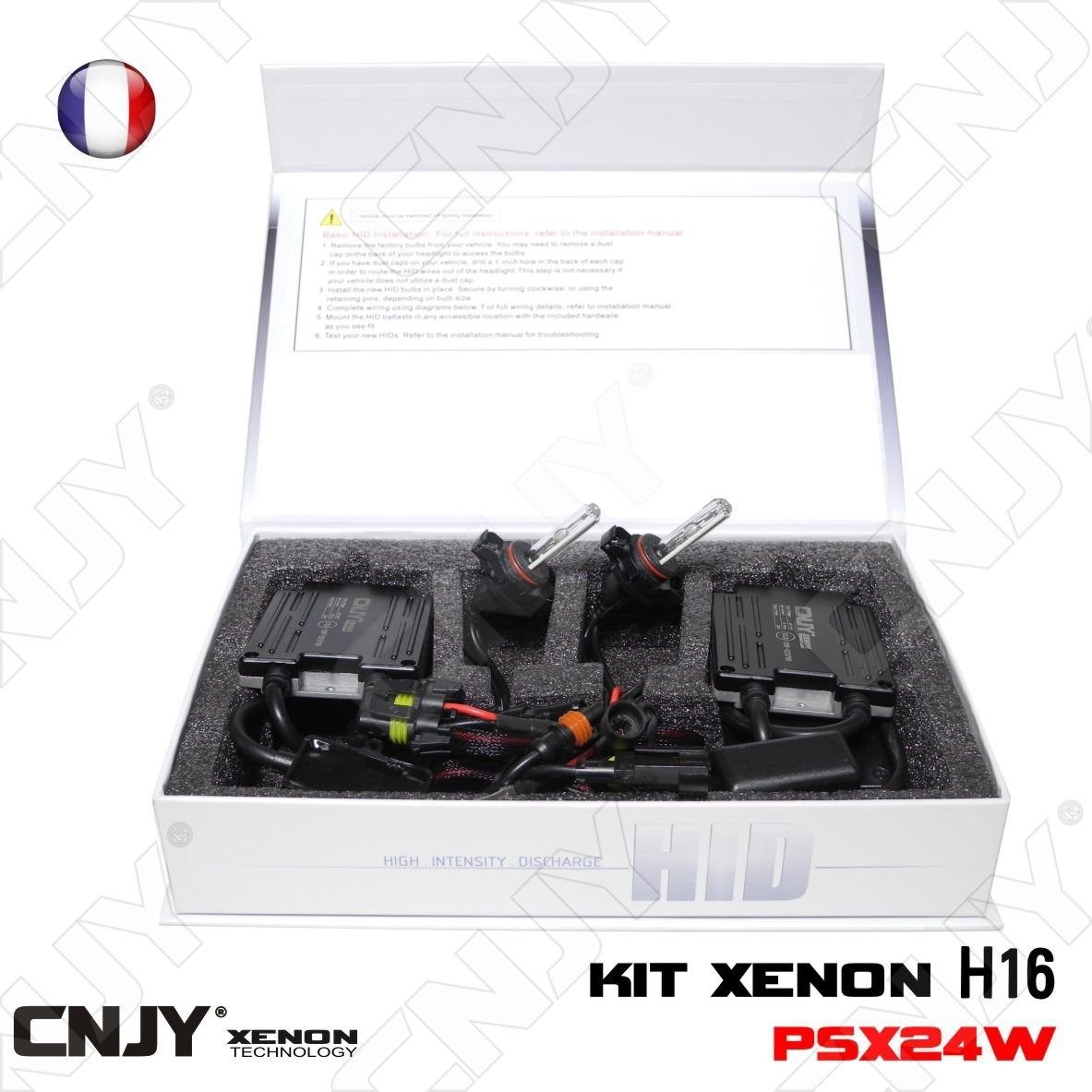 kit de conversion xenon hid h16 psx24w 35w 6000k ultra slim cnjy feux de jour anti brouillard. Black Bedroom Furniture Sets. Home Design Ideas