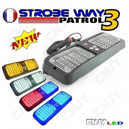 FEUX DE PENETRATION 12V STROBE WAY PATROL 3 PATROUILLEUR PARE SOLEIL - PACE CAR FLASH LED
