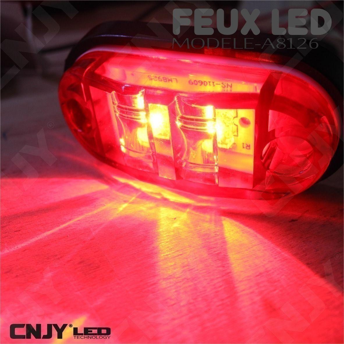 feux, de, gabarit, led, rouge, puissant, remorque, auto, camion, 12v, 24v, ip68