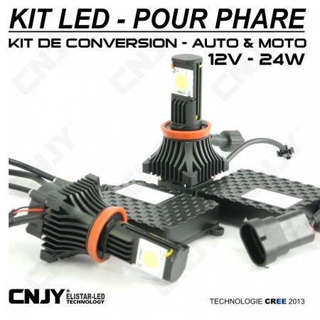 KIT LED CNJY ELISTAR H9-12V BLANC 5500K 2 AMPOULES VENTILLE POUR FEUX CROISEMENT-DE ROUTE-ANTI BROUILLARD 12V