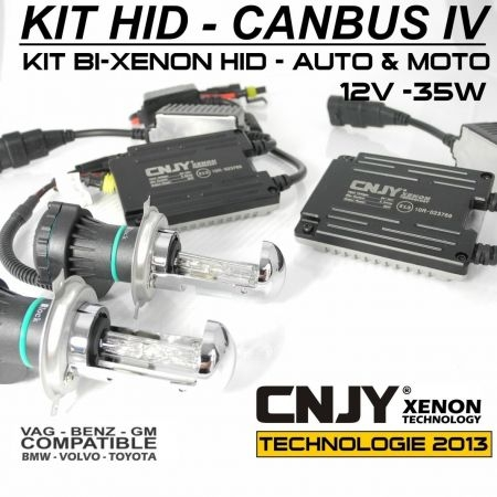KIT BI-XENON H4 HI//LOW HID CANBUS BALLAST HQ SLIM CNJY TECH-NEW SYSTEME ANTI ERREUR ODB
