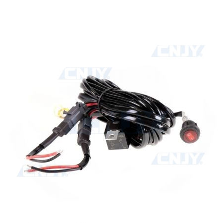 Câble d'alimentation avec relais pour feux, phare et barre led à 2 connecteurs et interrupteur 40AMP 12/24V