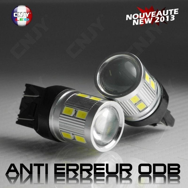 2 AMPOULES LED CNJY TITAN CREE 10W T20 7443 W21/5W FEUX DE JOUR DIURNE ANTI ERREUR CANBUS FIAT 500