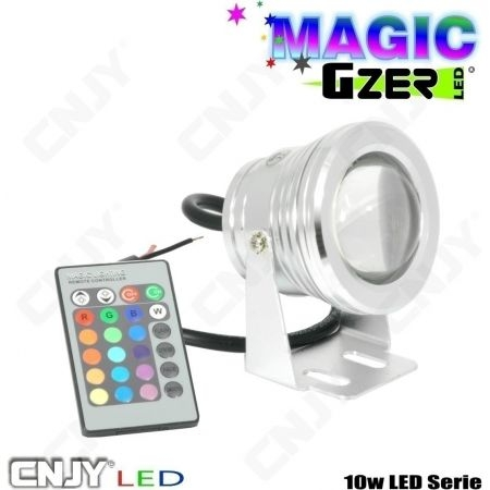 PROJECTEUR CNJY MAGIC GZER - SPOT RGB RVB MULTI COULEUR COLOR 10W 12V -DECORATION BAR AUTO TUNING DISCOTHEQUE
