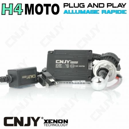 KIT DE CONVERSION BI-XENON HID H4 P43T-MOTO HI/LOW 35W AVEC PRISE PLUG AND PLAY & BALLAST QUICK START