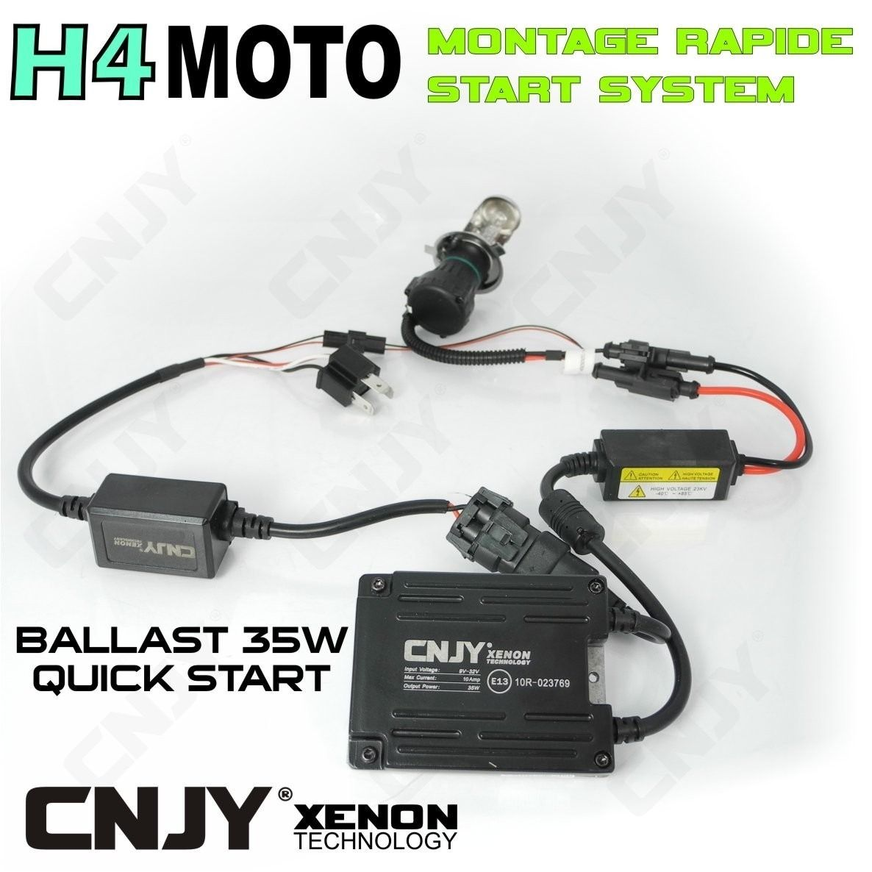 KIT BI XENON BIXENON H4 MOTO XENON 35W BALLAST PRISE H4 HI/LOW PLUG AND RUN