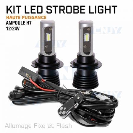 Kit ampoule stroboscopique à led haute puissance H7 12V 24V