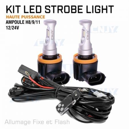 Kit ampoule stroboscopique à led haute puissance H8 12V 24V