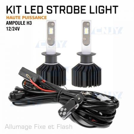 Kit ampoule stroboscopique à led haute puissance H3 12V 24V