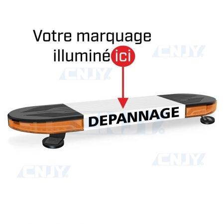 GYROPHARE RAMPE DE TOIT A LED ORANGE PERSONNALISABLE 12V 24V