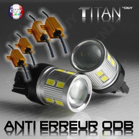 2 AMPOULES LED CNJY SPECIAL ! TITAN CREE 10W T20 W21/5W FEUX DE JOUR FIAT 500 & ALFA ROMEO MITO