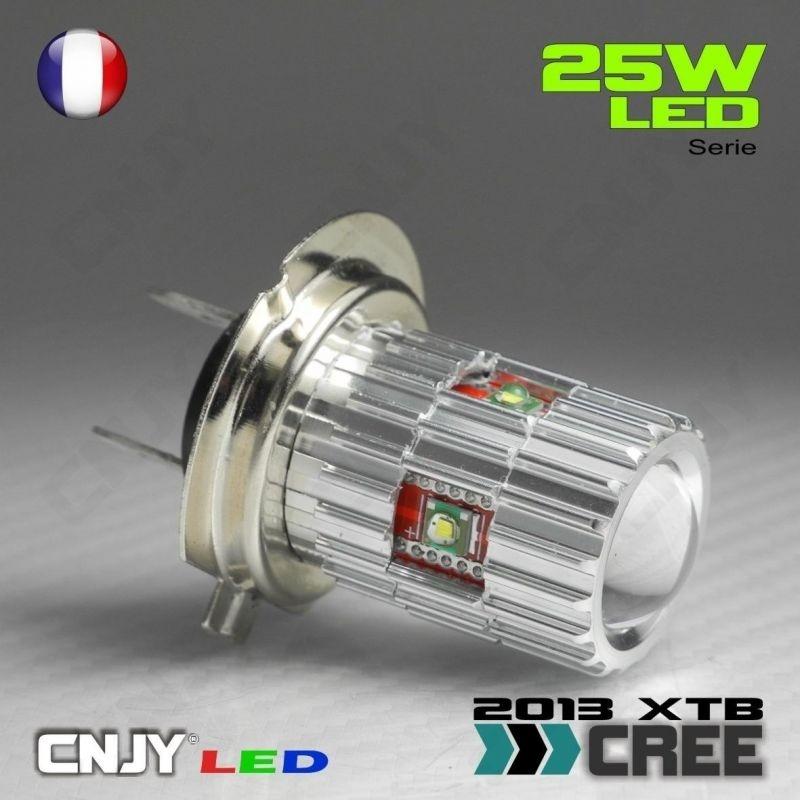 1 AMPOULE LED H7 PX26D 25W CREE LENTICULAIRE 12V POUR FEUX DE JOUR & PHARE ANTI BROUILLARD