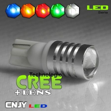 1 AMPOULE LED CREE T10 W5W CROSSLED 12V 24V