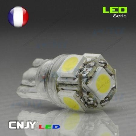 1 AMPOULE LED BLANC T10 W5W 5LED SMD HP-PRO® 12V