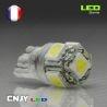 AMPOULE LED BLANC W5W T10 PUISSANTE 12V 360° SMD