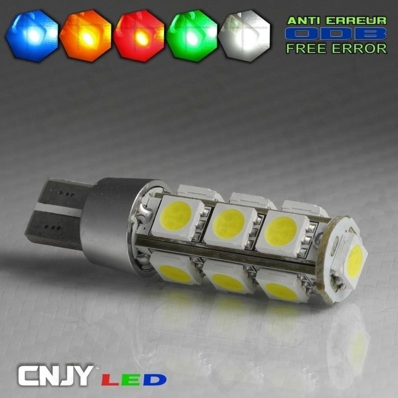 1 AMPOULE LED W5W T10 12V 13 LED SMD 5050 ANTI ERREUR CANBUS ODB