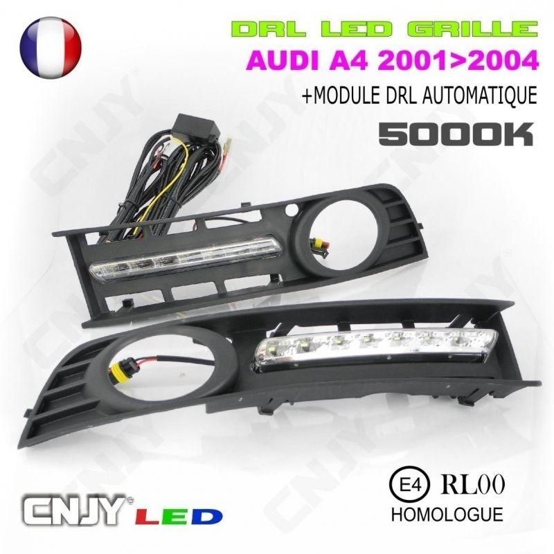 KIT DE 2 GRILLE ANTI BROUILLARD CNJY FEUX DE JOUR LED DIURNE DRL AUDI A4 8E2 B6
