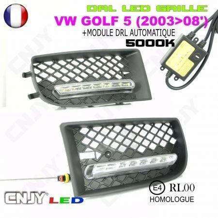KIT 2 GRILLE DE CALANDRE ANTI BROUILLARD FEUX DE JOUR LED DIURNE DRL VW GOLF 5 V