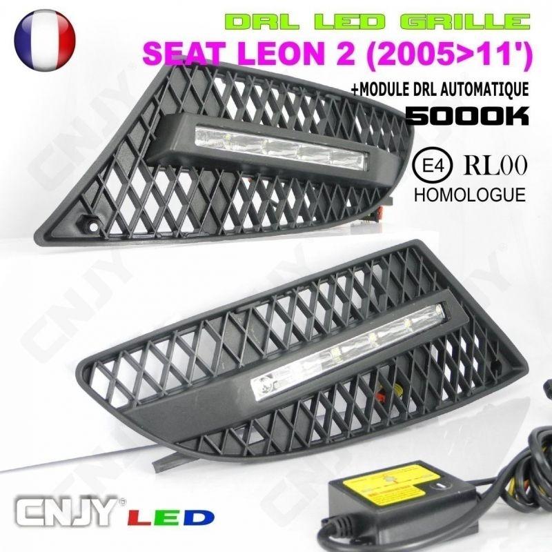 KIT 2 GRILLE DE CALANDRE ANTI BROUILLARD FEUX DE JOUR LED DIURNE DRL SEAT LEON 2