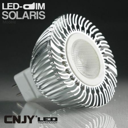 1 AMPOULE SOLARIS LED-DIM 3W GU10-MR16 12VDC ou 220VAC PUISSANTE ET HOMOGENE POUR LA MAISON