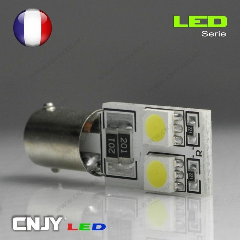 1 AMPOULE BAX9S H6W 4 LED 5050SMD 12V BI-POLAIRE CANBUS ANTI ERREUR ODB