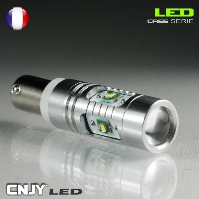 1 AMPOULE BAY9S H21W 5 LED CREE 25W LENTICULAIRE 12V BI POLAIRE