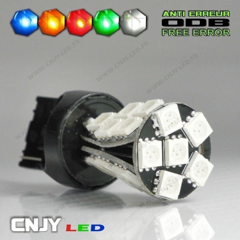 1 AMPOULE LED T20 7440 TYPE W21W 21 LED SMD 5050 CANBUS ANTI ERREUR ODB