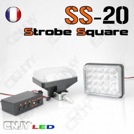Kit de feux led à éclat stroboscopique, bloc carré orange/blanc SS20 12V
