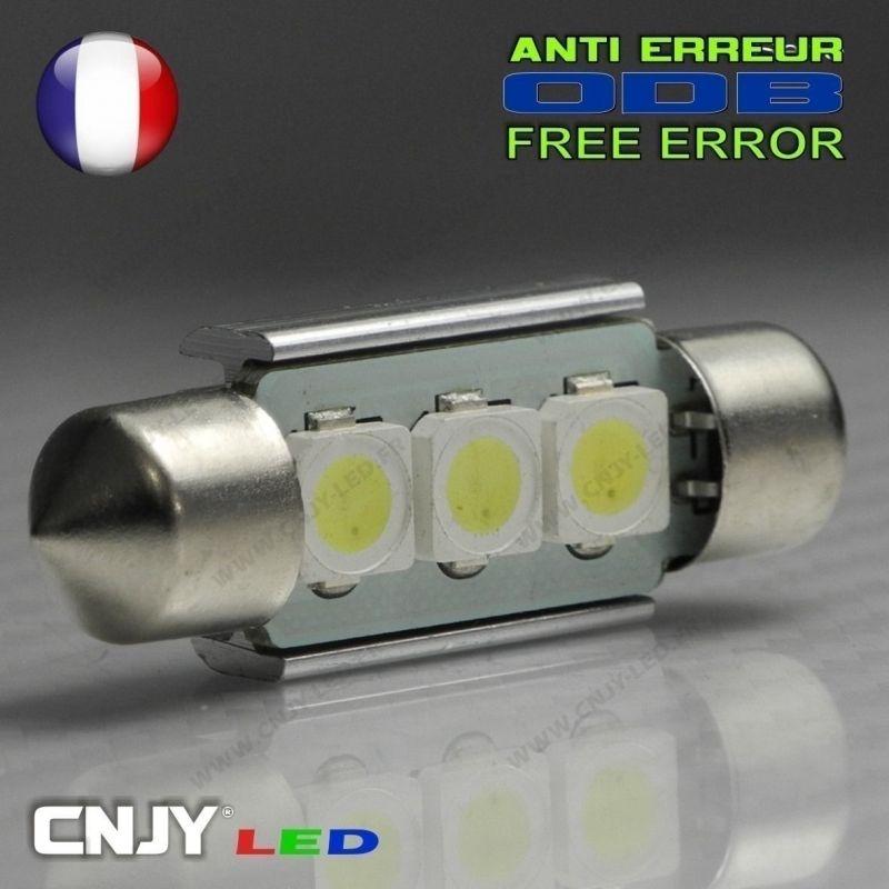 1 AMPOULE ANTI ERREUR TYPE NAVETTE C5W 12V A 3 LED NIKKON 39MM