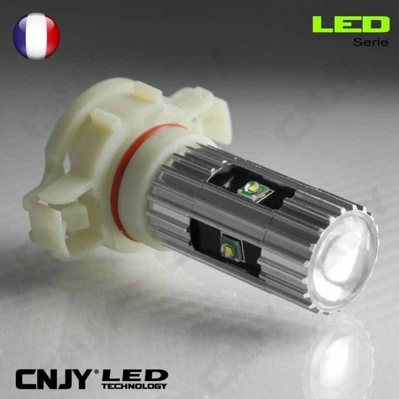 1 AMPOULE LED CREE 25W PSY24W 18mm 8W BLANC/ORANGE POUR CLIGNOTANT OU FEUX DE RECUL