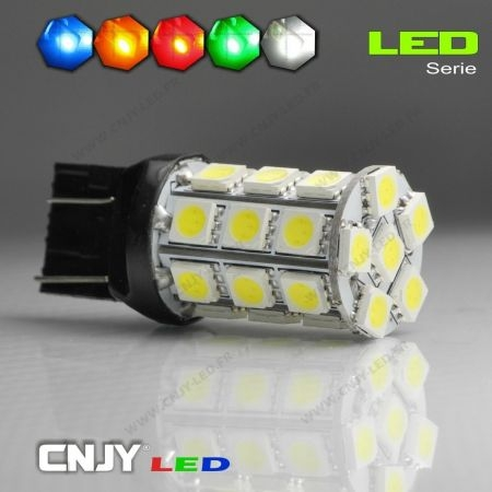 1 AMPOULE LED T20 12V 7443 TYPE W21/5W 27 LED SMD 5050