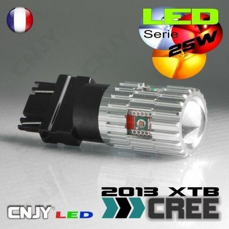 1 AMPOULE LED 25W 12V T25 3157 TYPE W27/7W P27/7W 5 CREE LED + LENTILLE