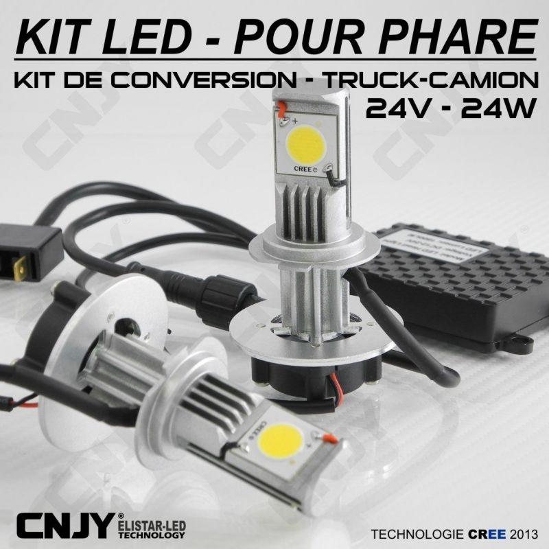 KIT LED CNJY ELISTAR H7-PX26D 24V BLANC 5500K 2 AMPOULES POUR FEUX CROISEMENT-DE ROUTE-ANTI BROUILLARD CAMION