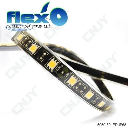 Bande led flexible IP68 Bleu 60led/M 5050 SMD Adhésive à fond noir 12V