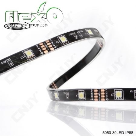 Ruban led flexible 500cm IP68 30led/M 5050 SMD Adhésive à fond noir 12V