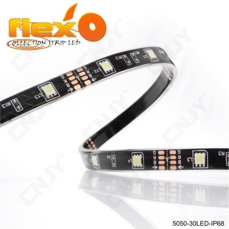 Bande led flexible IP68 Orange 30led/M 5050 SMD Adhésive à fond noir 12V