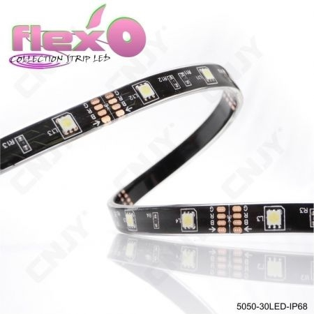 Bande led flexible IP68 Rose 30led/M 5050 SMD Adhésive à fond noir 12V