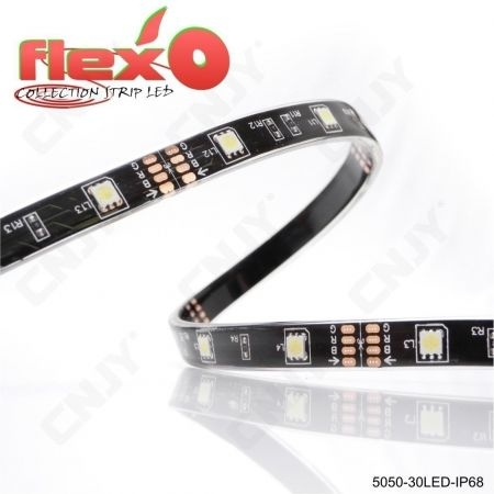 Bande led flexible IP68 Rouge 30led/M 5050 SMD Adhésive à fond noir 12V