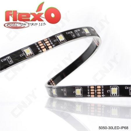Bande led flexible IP68 Rouge 30led/M 5050 SMD Adhésive à fond noir 12V
