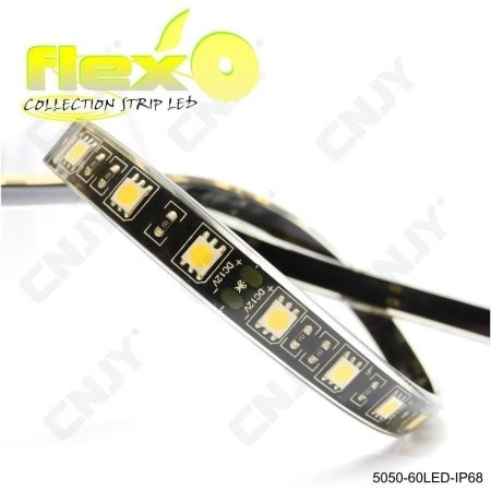 Bande led flexible IP68 Jaune 60led/M 5050 SMD Adhésive à fond noir 12V