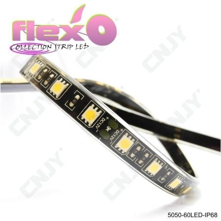 Bande led flexible IP68 Rose 60led/M 5050 SMD Adhésive à fond noir 12V