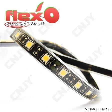 Bande led flexible IP68 Rouge 60led/M 5050 SMD Adhésive à fond noir 12V