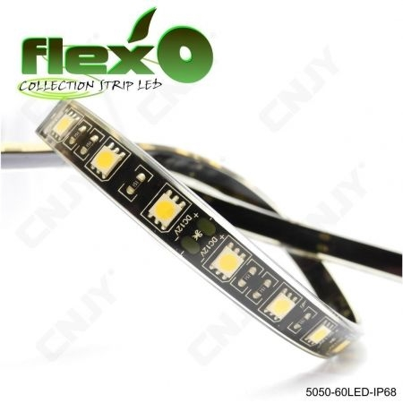 Bande led flexible IP68 vert 60led/M 5050 SMD Adhésive à fond noir 12V