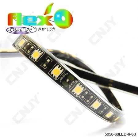 Bande led flexible IP68 RGB RVB multicolore 60led/M 5050 SMD Adhésive à fond noir 12V
