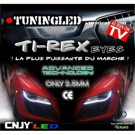 2 Bandes feux de jour led TiREX look phare audi 12V